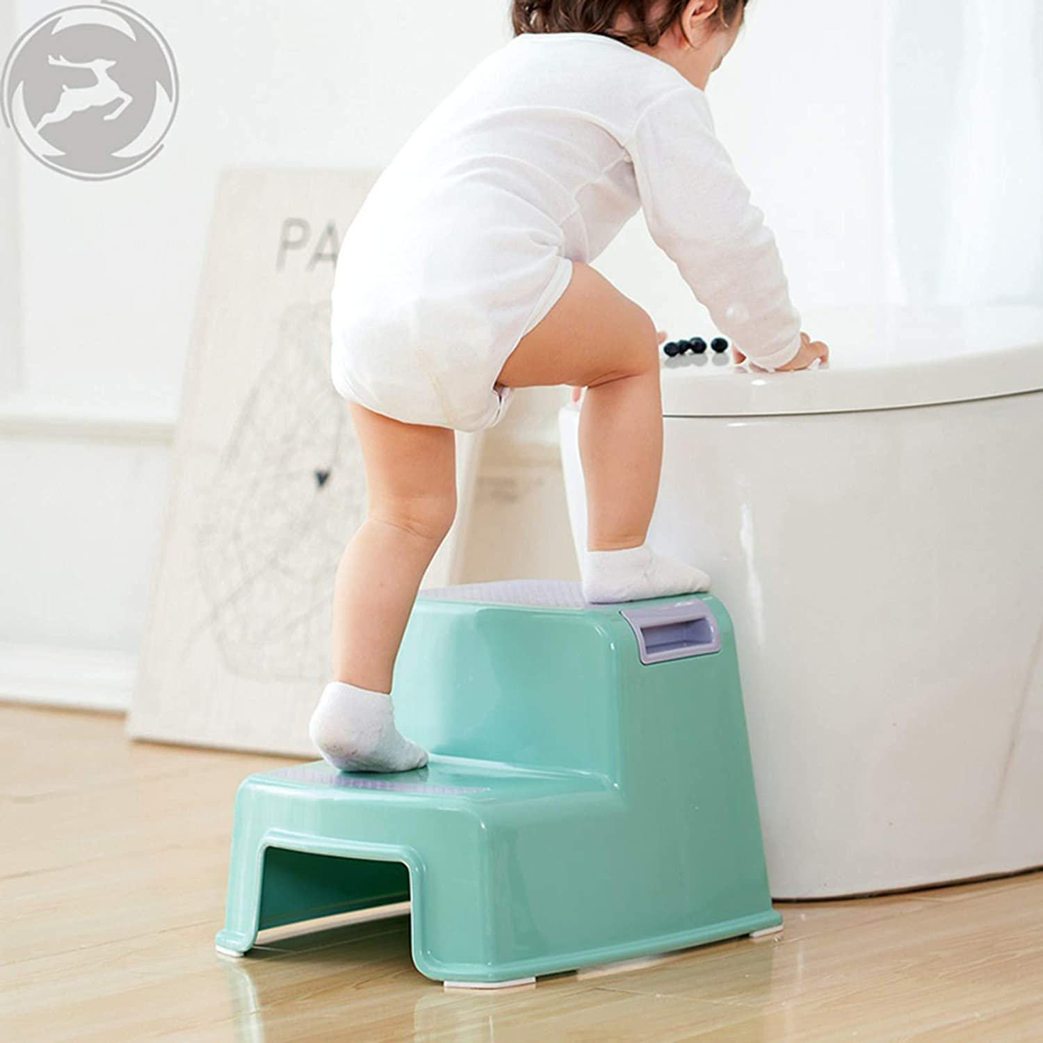 YIVEKO 2 Step Stool for Kids Bathroom and Kitchen Step Stool-Slip Resistant Soft Grip for Safety Stackable Dual Height Wide Two Steps -Toddler Step Stool for Toilet Potty Training 1 Pack