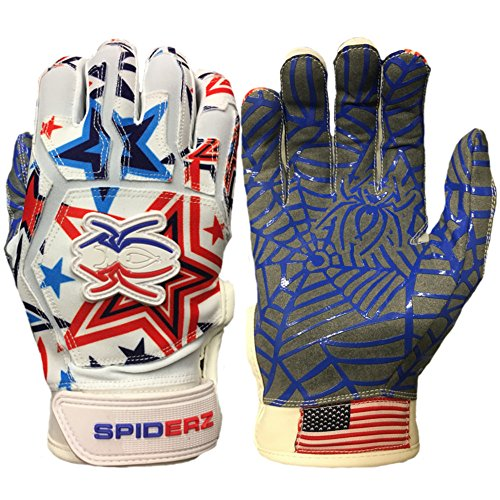 Spiderz WEB Baseball Batting Glove with Silicone Spider Web Palm (USA Star, Youth (Light Adult Wood Baseball Bat)