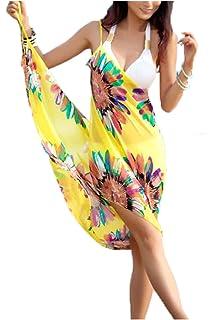 5574ebaf56 Livina Women's Chiffon Sling Sarong Bikini Cover-Up (Yellow, Free Size)