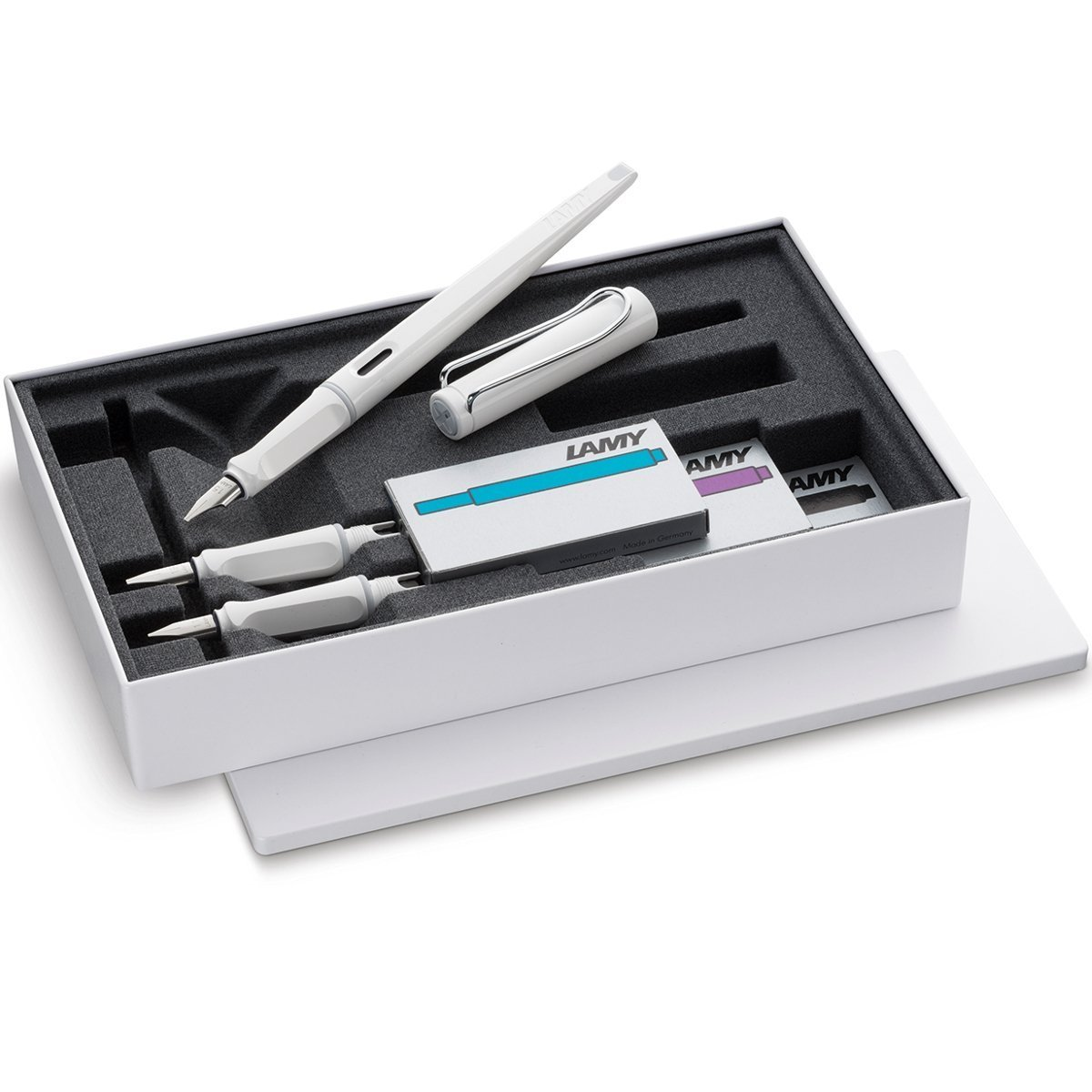 LAMY Joy Calligraphy Set in White - Special Edition with Black, Violet and Turquoise Ink Cartridges