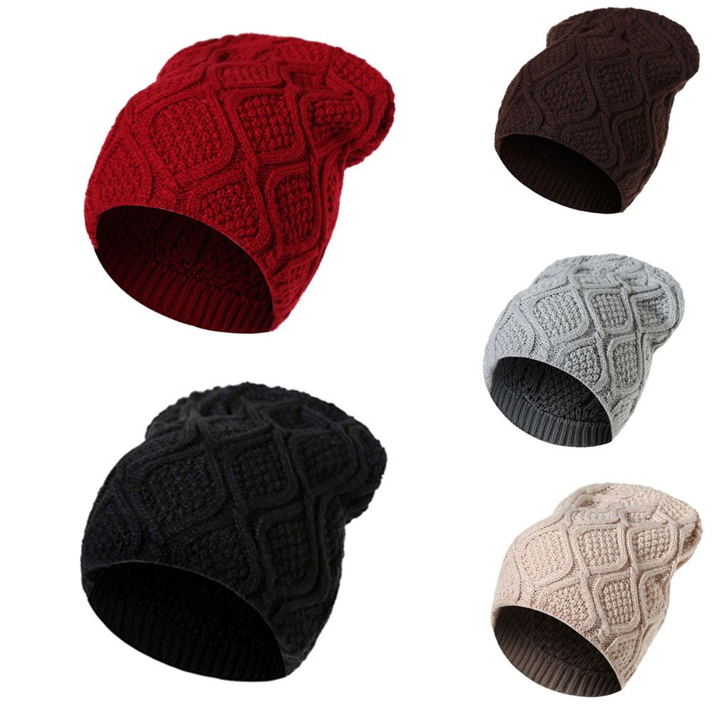 ... GOVOW Unisex Men Women Warm Winter Knit Baggy Slouchy Cable Knit Cuff  Beanie Hat Ski Slouchy ... f7a7c588c4d6