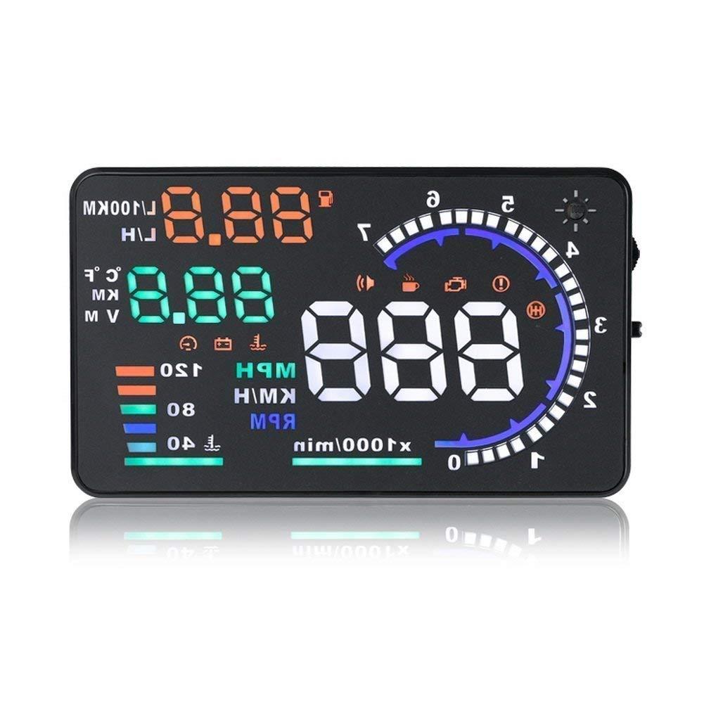 takestop ALLARME LCD CRUSCOTTO proiettore CONTROLLO VELOCIT/Ã/€ HEAD-UP DISPLAY OBDII ATTENZIONE CARBURANTE TACHIMETRO TEMPERATURA DATA
