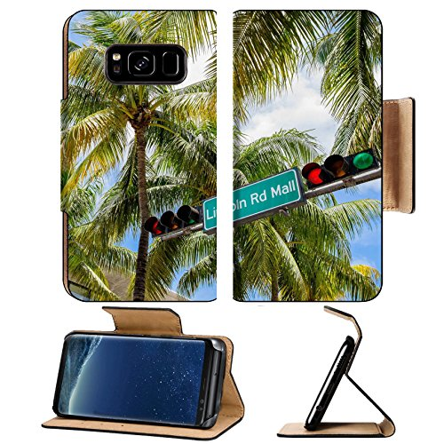 Liili Premium Samsung Galaxy S8 Plus Flip Pu Leather Wallet Case Lincoln Road Mall street sign located in Miami Beach - Mall Lincoln Miami Beach