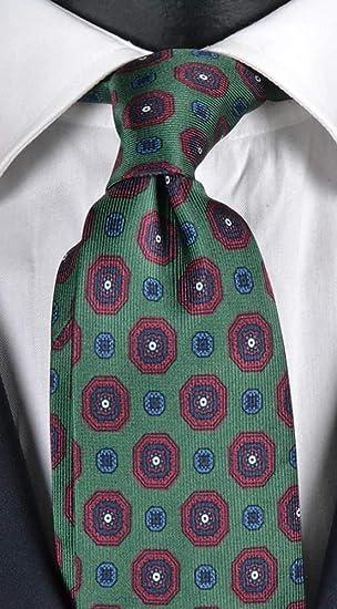 Corbata hombre impresión verde con fantasía burdeos celeste y azul ...