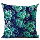 DAEDALUS Tropical Green Plant Leaves Flower Linen Cushion Cover Pillow Case Home Decor