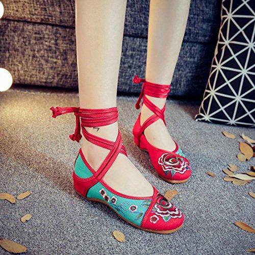 Lacets Caoutchouc Bretelles Chaussures Strap À Flats Semelle Traditionnelle Femmes Chaussures YIBLBOX Casual Broderie Vert De Robe Chaussures En Chaussures Petite À Fleur Marche v7STtxq