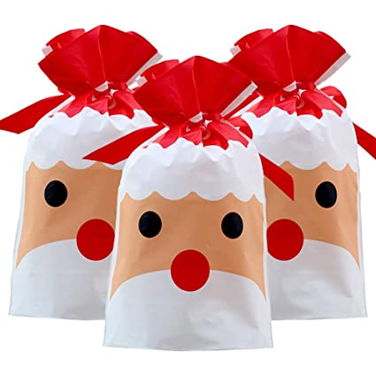 Merry Christmas Gift.Christmas Gift Bags 50pcs Holiday Red Santa Claus Xmas Drawstring Wrapping Present Gift Package Candy Sweet Bag Plastic Material Christmas Goody Bags