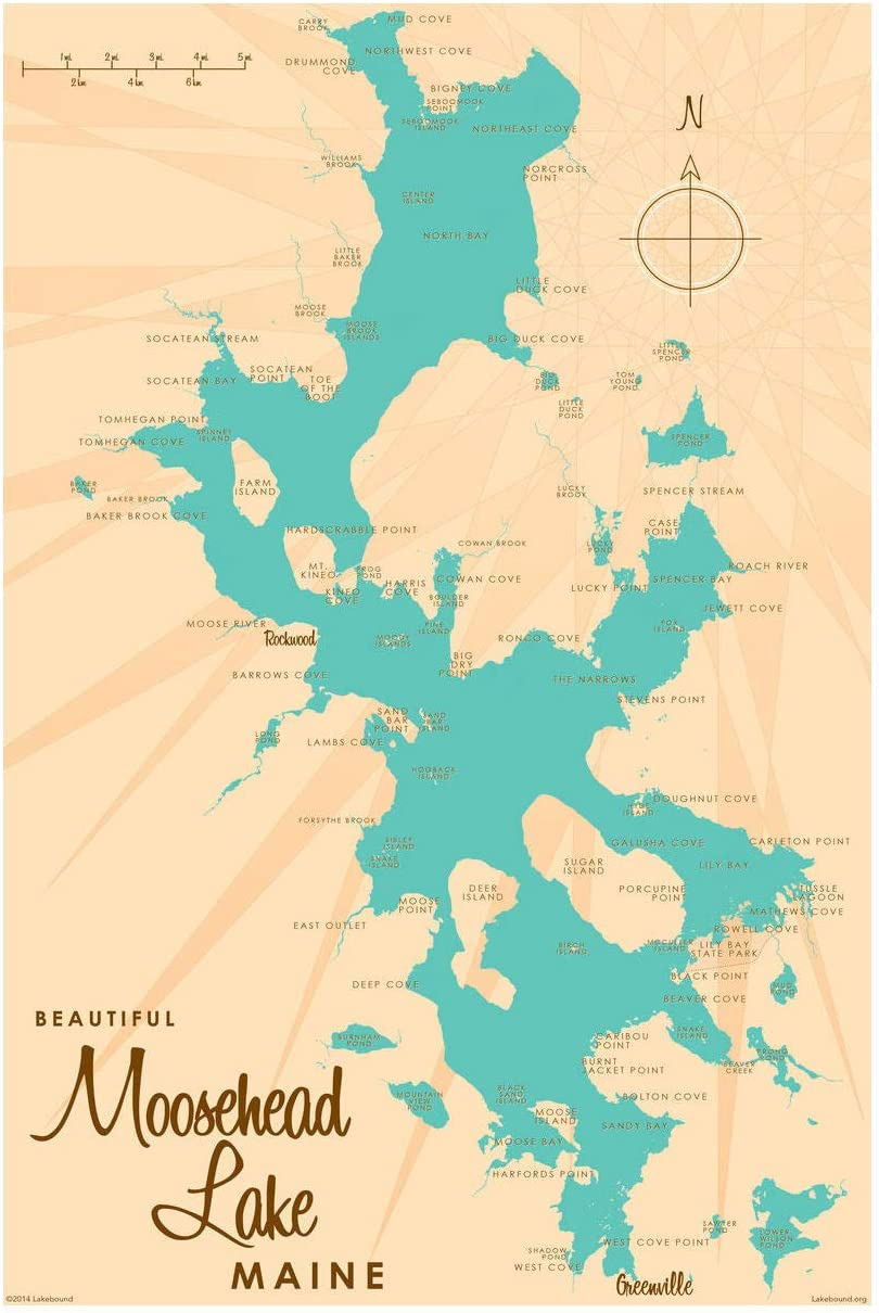 Lakes In Maine Map Amazon.com: Moosehead Lake Maine Map Giclee Art Print Poster by