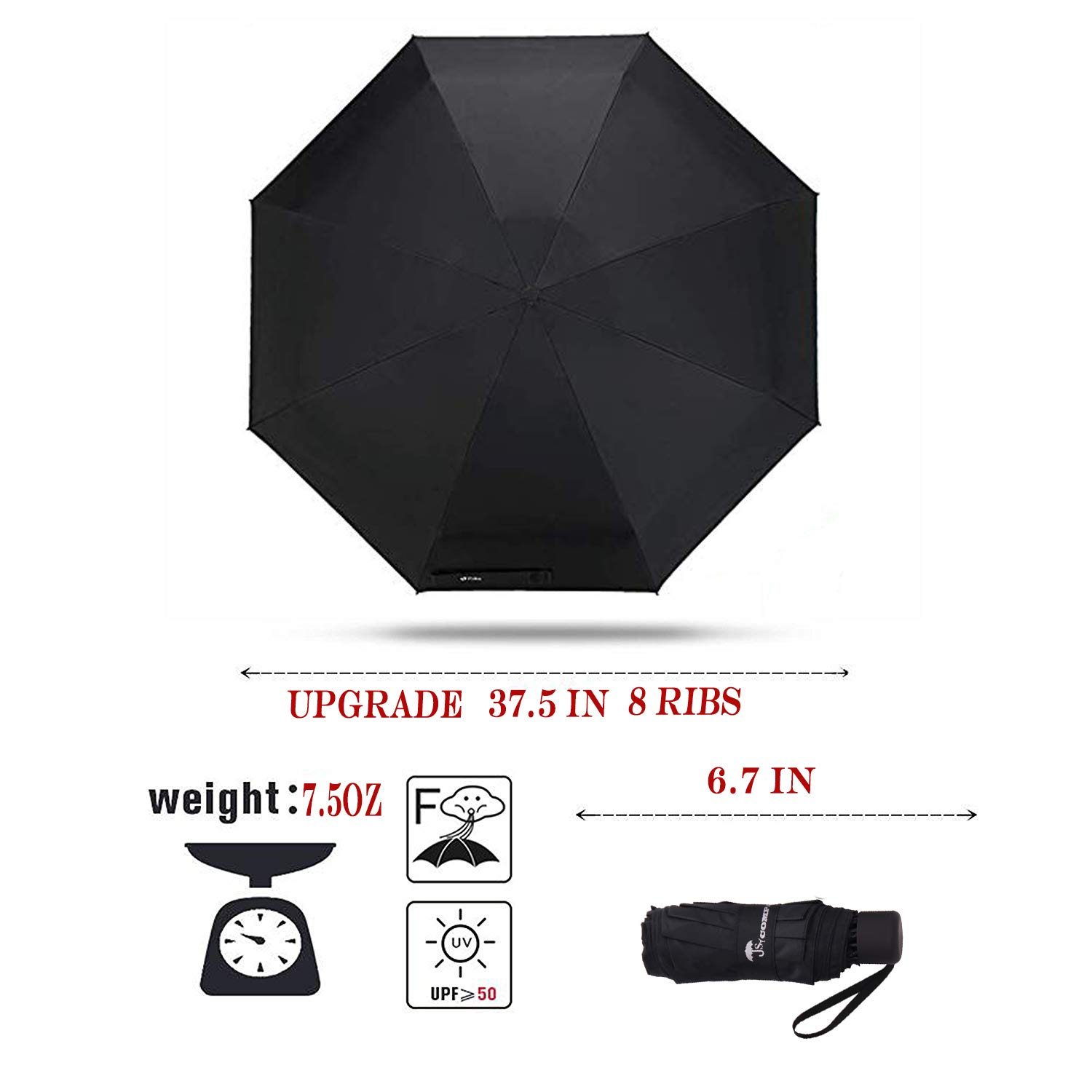 SY COMPACT Travel Umbrella - Lightweight Portable Mini Compact Umbrellas-Factory Outlet Shop (Black) by SY COMPACT (Image #2)