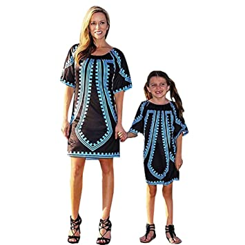 c8aaf22aa Buy Franterd Family Matching Dress Mommy †Me Girls Women Traditional  African Print Mini Dresses Parent-Child Matching Clothes Outfit Online at  Low Prices ...