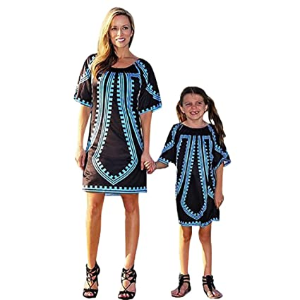 4e6744a96853 Image Unavailable. Image not available for. Color  Franterd Family Matching  Dress Mommy &Me Girls Women Traditional African Print Mini Dresses Parent- Child