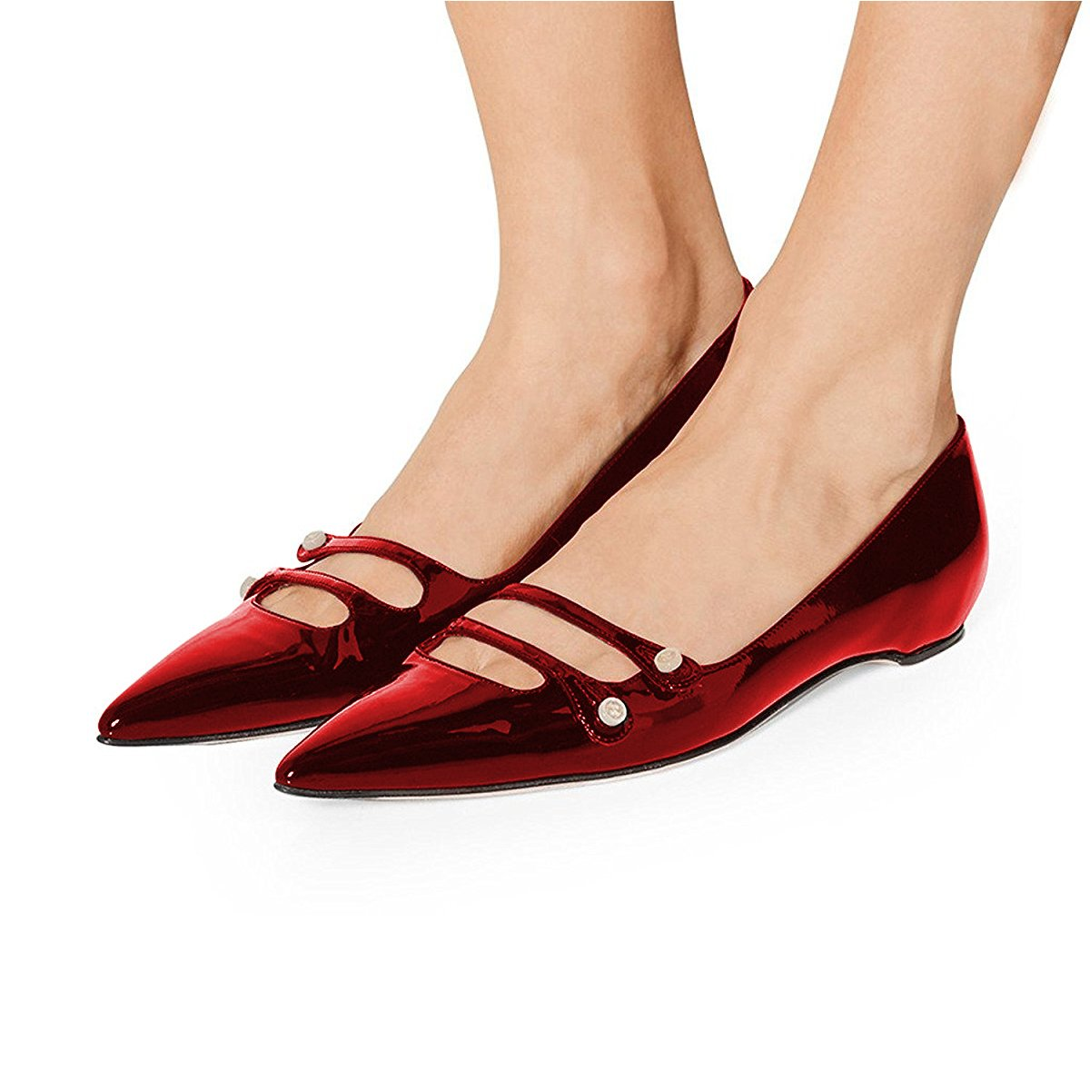 YDN Women Pointed Toe Slip on Flats Hidden Low Heels Pumps Comfort Shoes with Straps B077G237G2 12 M US|Wine Red