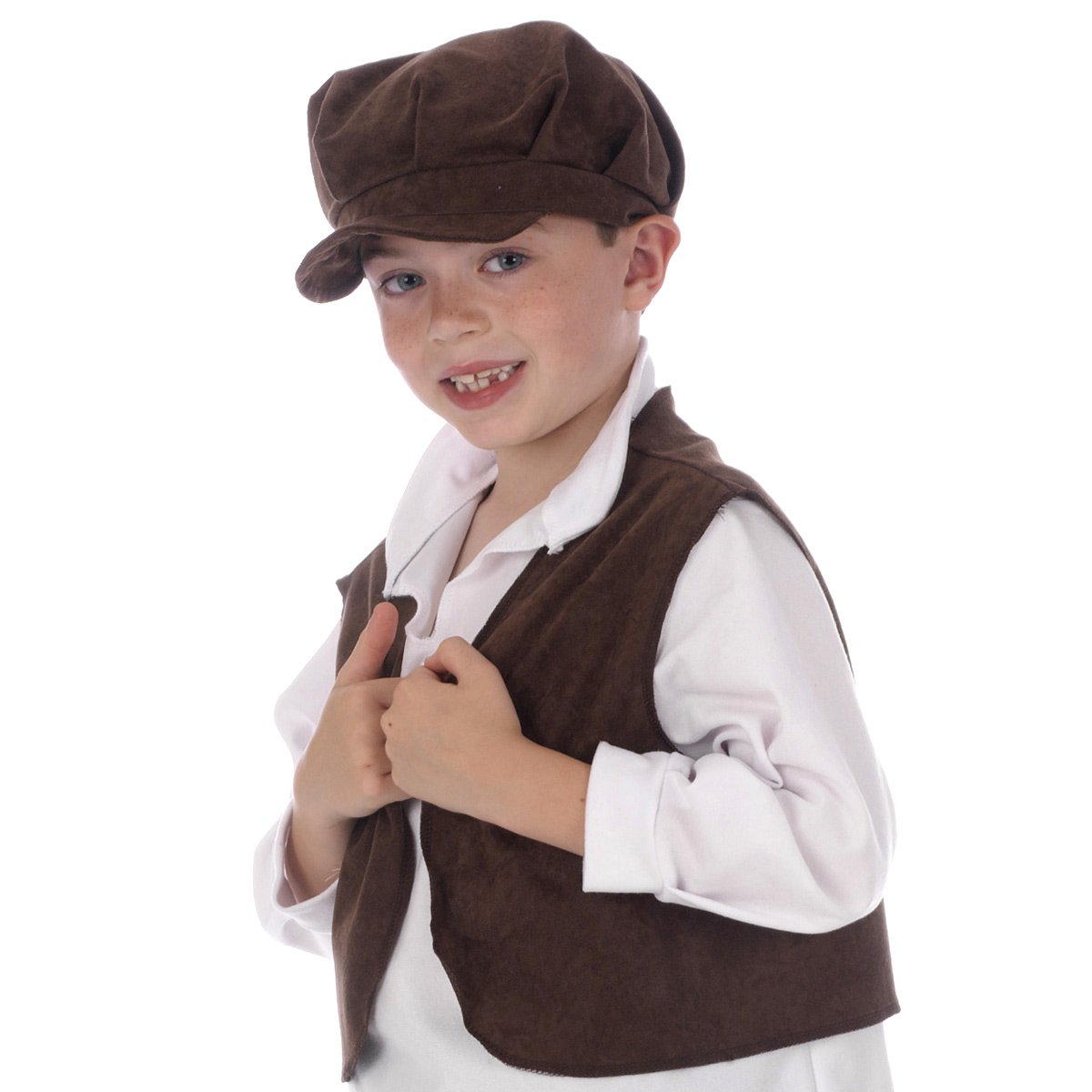 Victorian Kids Costumes & Shoes- Girls, Boys, Baby, Toddler Brown Flat Cap & Waistcoat for kids | One size fits all 3-9 years £8.50 AT vintagedancer.com