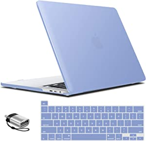 IBENZER MacBook Pro 16 Inch Case A2141 Release 2020 2019, Hard Shell Case with Keyboard Cover & Type C Adapter for Apple Mac Pro 16'' with Touch Bar and Touch ID, Serenity Blue, T16SRL+1TC
