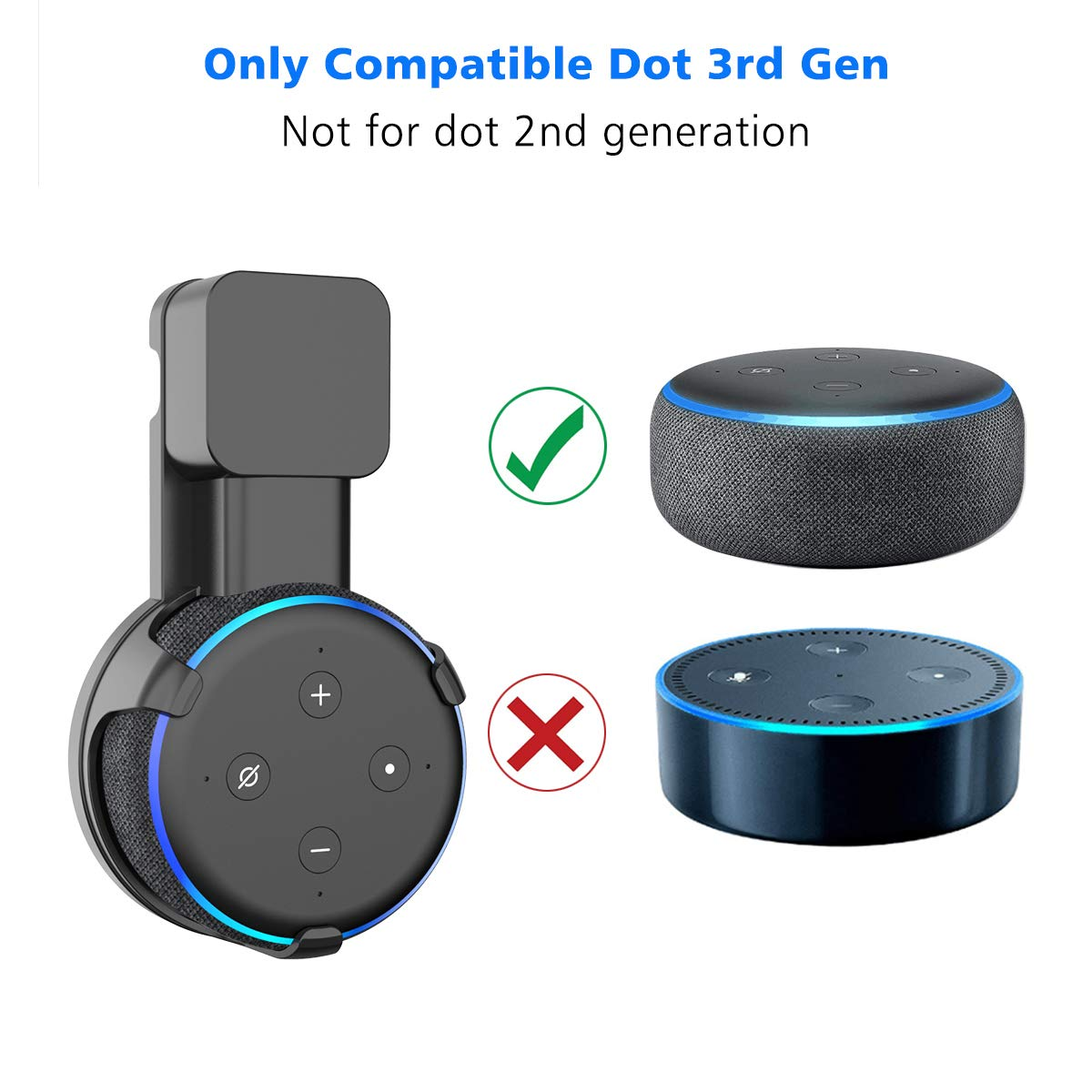 White - 1 Pack Hides The Original Long Cord SPORTLINK Outlet Wall Mount Hanger Holder Stand Only for Echo Dot 3rd Gen Compact Holder Case Plug in Kitchen Bathroom and Bedroom