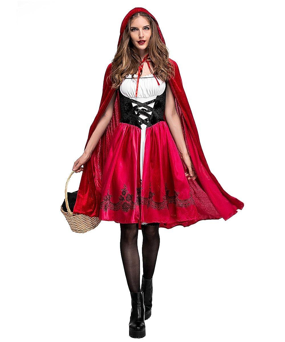 iBelly - Disfraz de Caperucita Roja Vestido de Cosplay para fiesta de disfraces.