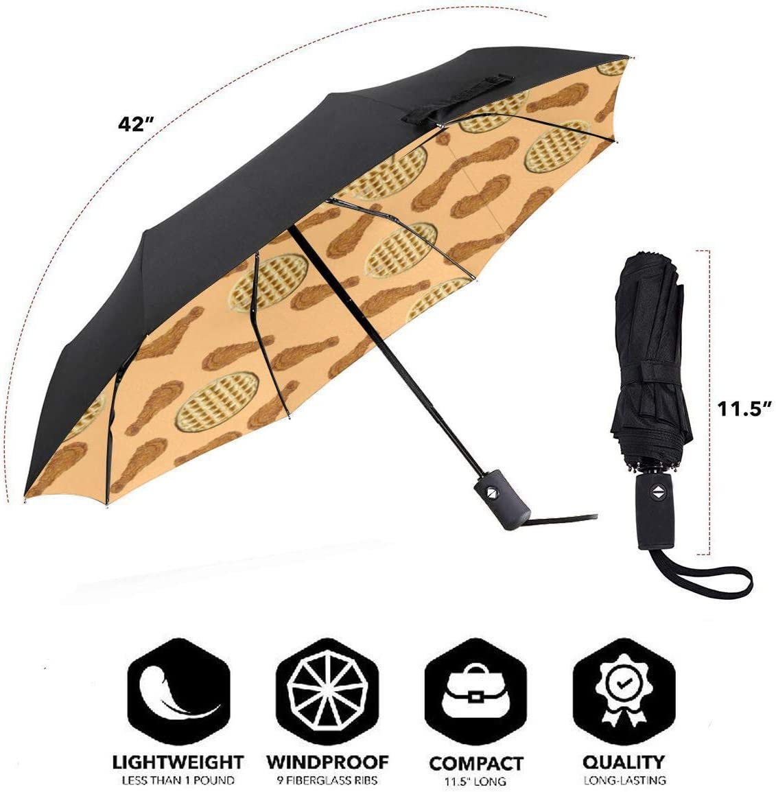 Chicken Waffles Pattern Automatic Folding Umbrella Sunshade Tri-fold Rain Umbrella