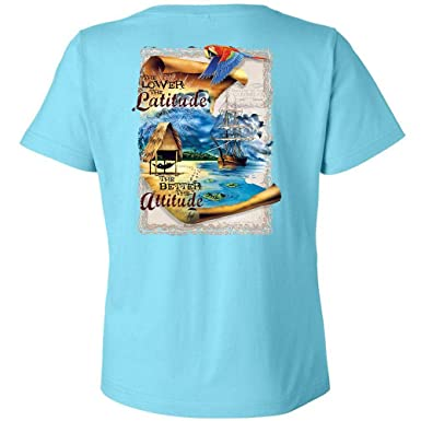 02b229d5 Amazon.com: Island Jay Ladies The Lower The Latitude The Better The Attitude  T-Shirt V-Neck: Clothing