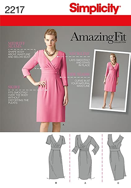 a3305d6a49d Image Unavailable. Image not available for. Color  Simplicity Sewing Pattern  2217 Misses  Amazing Fit Dresses ...
