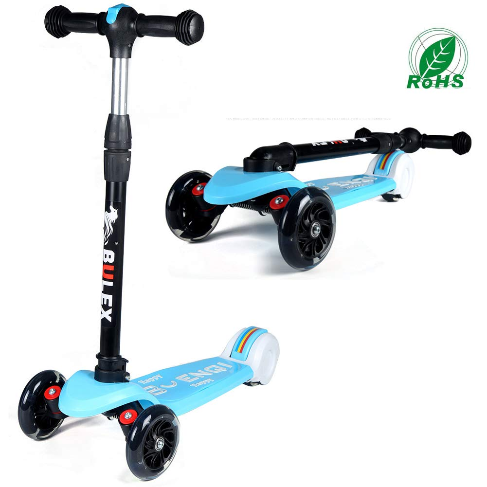 RISILAYS Patinete Scooter Freestyle Plegable Rueda de Flash de Altura Ajustable para niños de 2 a 12 años Carga 50kg (Azul): Amazon.es: Deportes y aire ...