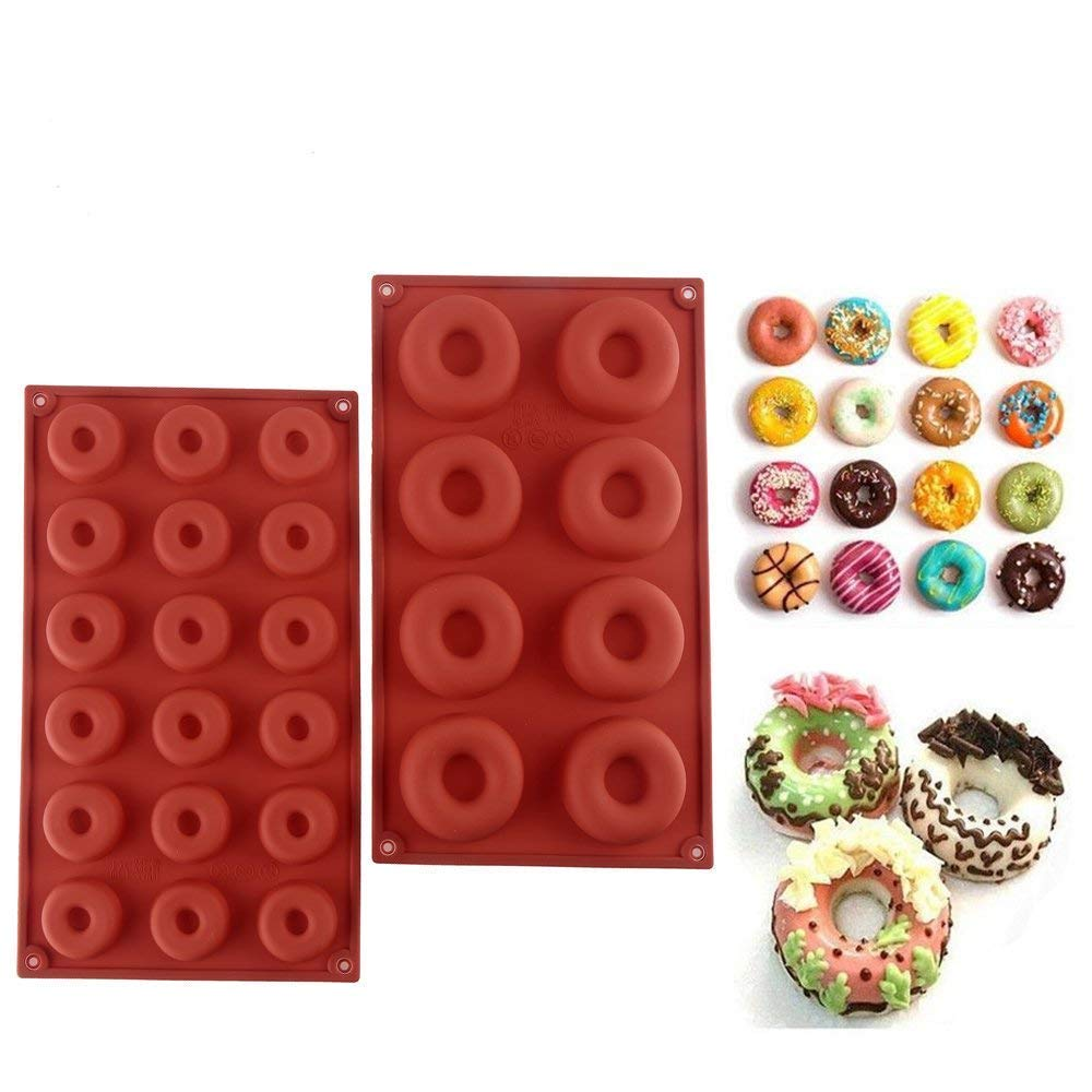 Silicone Donut Molds Muffin Baking Tray Heat Resistance Non-Stick Cake Mold, Pack of 2-26 Grids, Assorted Sizes Txyk