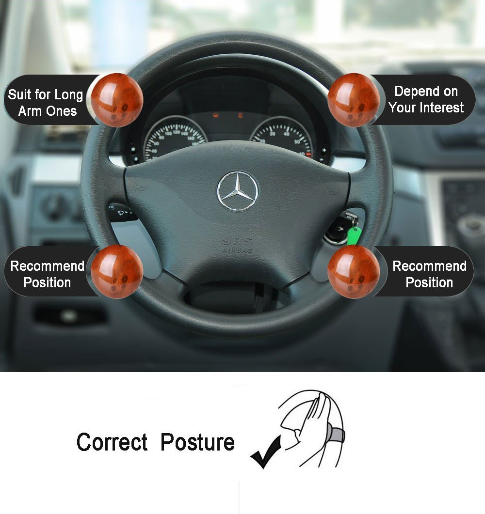 Metal+ABS Power Handle Booster steering wheel knob Power Handle Ball Fit for Universal Car Trader-V Auto Steering Wheel Spinner Brown Woodgrain Easy installation