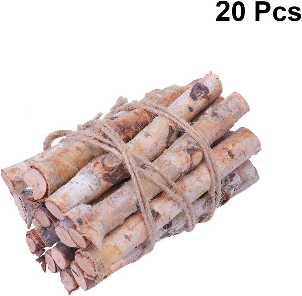 Amosfun 20PCS 10CM Birch Branches Birch Twigs Wood Logs Craft Centerpieces for Arts Craft Christmas Decor