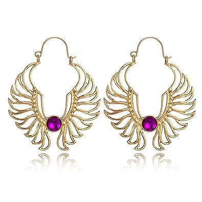 54b059d5bb8340 Amazon.com: MINGHUA Gold Silver Wing Drop Earring for Women Angel Wings  Earrings Purple Rhinestone Big Hollow Hook Earring (Gold): Jewelry