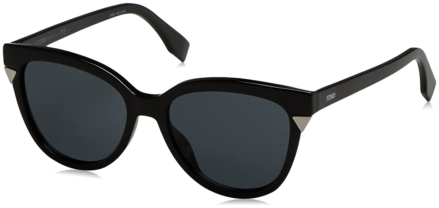 Fendi Damen Sonnenbrille FF 0125/S BN D28, Schwarz (Shiny Black/Dark Grey), 53