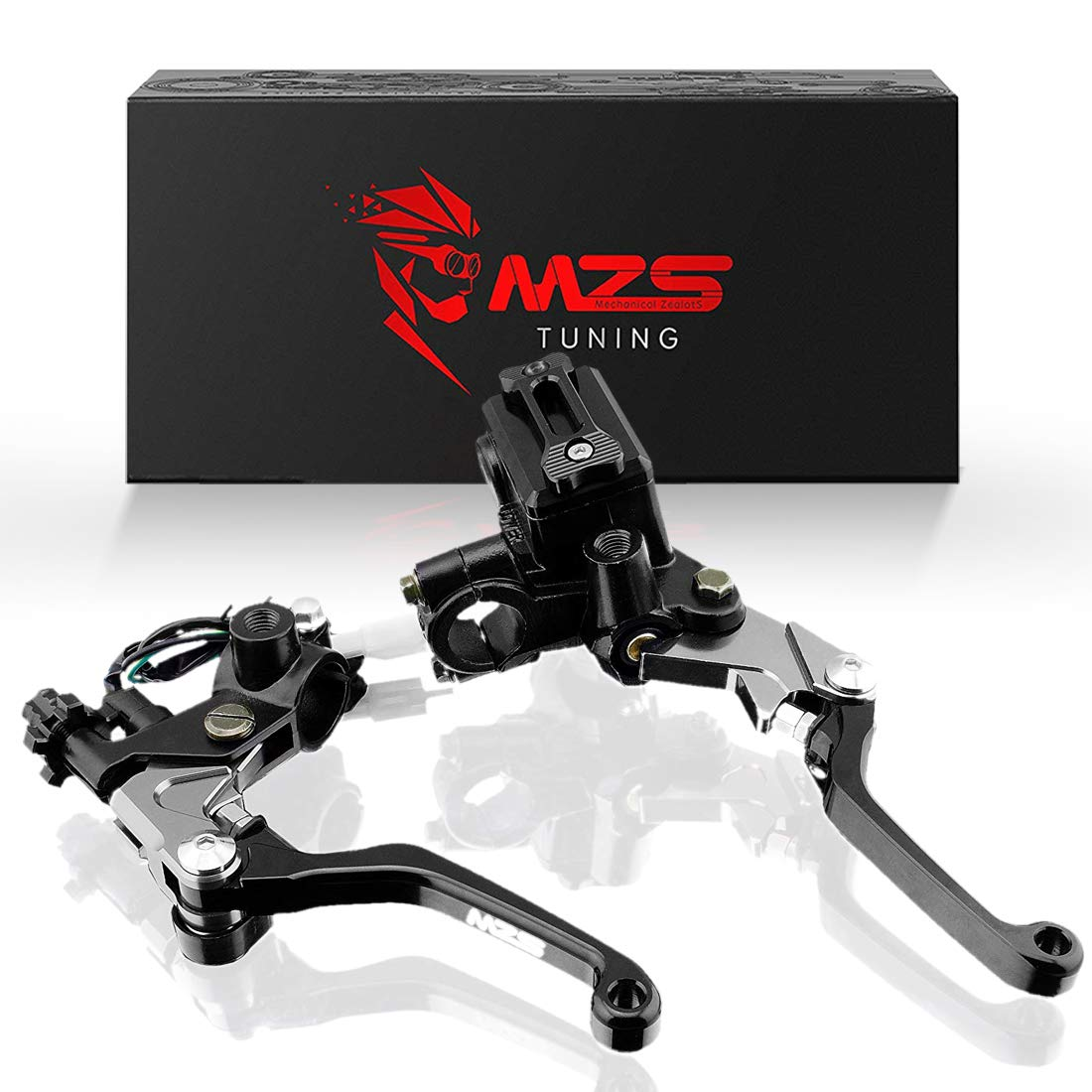 MZS 7/8'' Brake Master Cylinder Reservoir Pivot Levers for Honda Yamaha Suzuki Kawasaki KTM and more Black