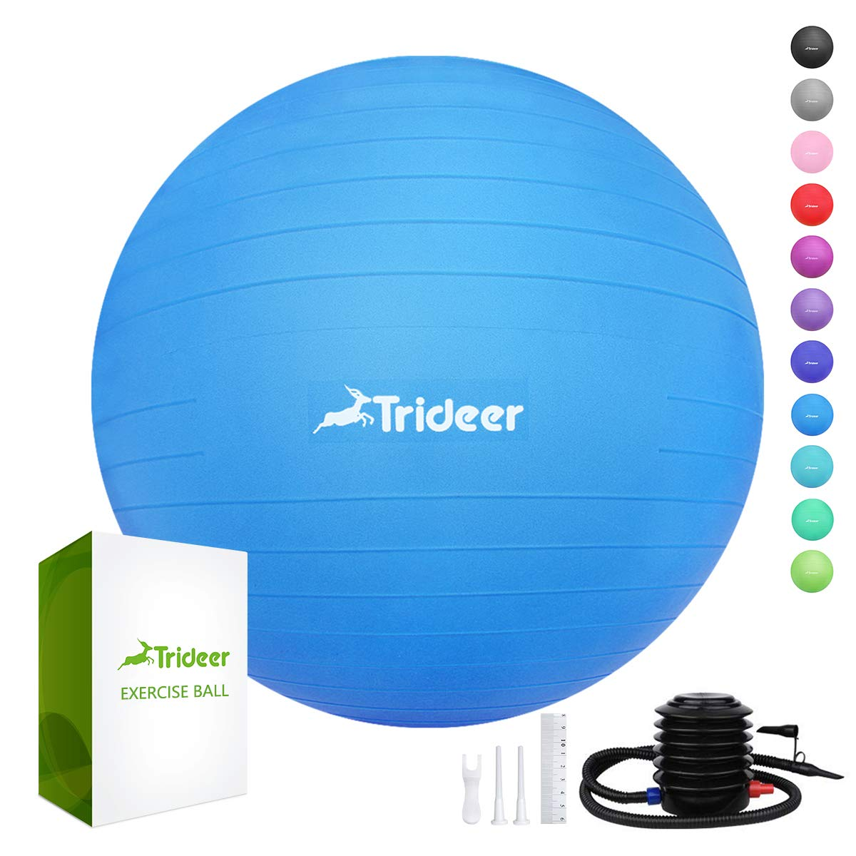 Trideer 45-85cm Exercise Ball, Birthing Ball, Ball Chair, Yoga Pilate Fitness Balance Ball with Pump Plug Kit, Anti-Slip & Anti-Burst (Dark Blue, 65cm)
