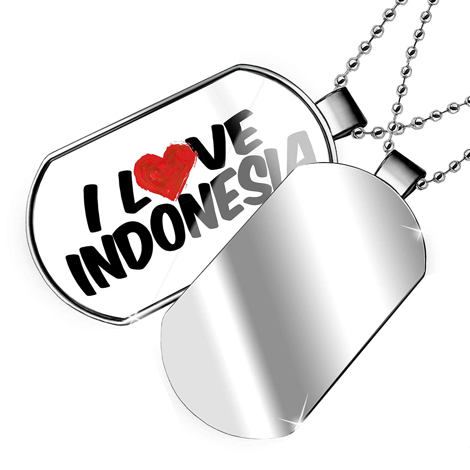 NEONBLOND Personalized Name Engraved I Love Indonesia Dogtag Necklace