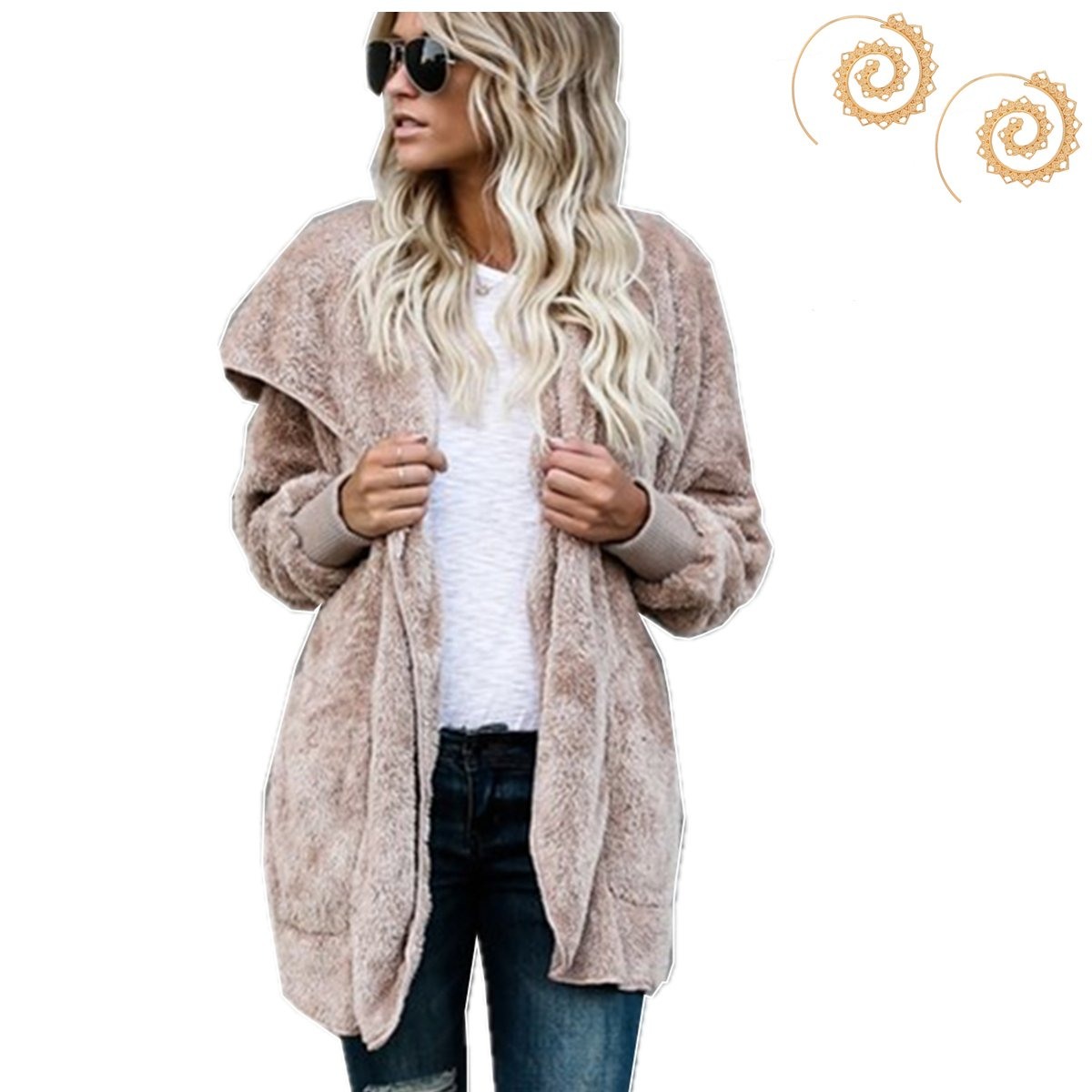 Yaaas2U Women's Winter Warm Loose Oversized Fleece Jacket Coat Outwear Plus Size S-XXL with Free Earrings