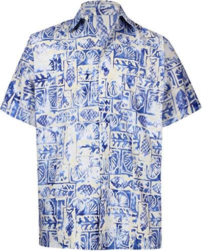 La Leela* Arbre Aloha Hommes en Coton Bouton Hawaiien dans la Lumière Chemise Bleue Tropicale Ble