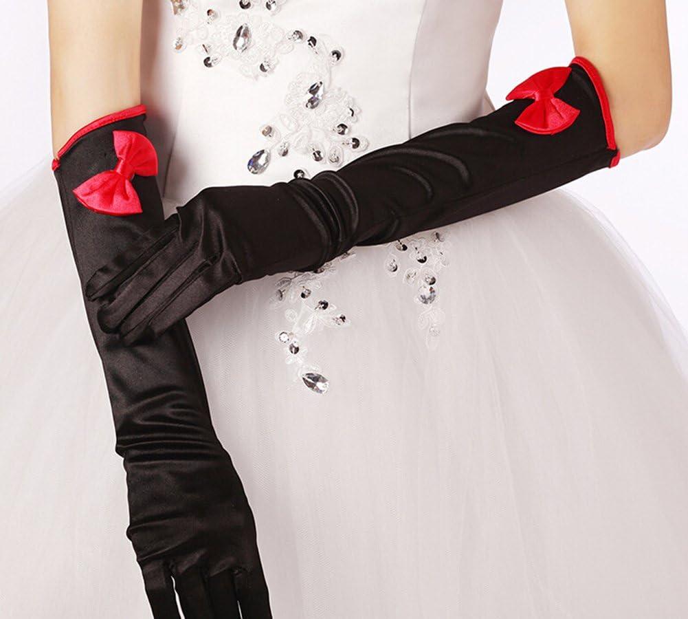 Doitsa 1 Paire Femme Gants de Mari/ée de Mariage en Satin avec Arc Rouge Long Wedding Gloves Noir