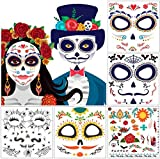 10 Packs Day of the Death Halloween Tattoos, Families Skull Temporary Tattoos Party Favor Supplies, 6x5 inches
