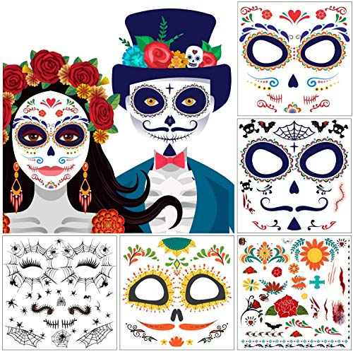 Dead Kid Halloween (10 Packs Day of the Death Halloween Tattoos, Families Skull Temporary Tattoos Party Favor Supplies, 6x5)