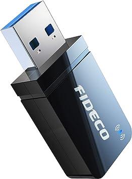 FIDECO Adaptador WiFi USB, Receptor WiFi AC1200-5.8G/MAX 867Mbps+2.4G/MAX 300Mbps, Antena WiFi para computadora de Escritorio/portátil, Compatible con ...