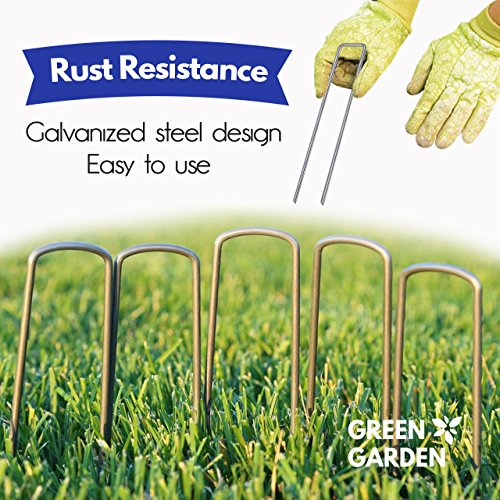 GreenGarden 12 Inch Garden Landscape Staples Stakes Pins SOD | 100 Pack | Galvanized Steel | For Weed Barrier Fabric, Ground Cover, Soaker Hose, Lawn Drippers, Drip Irrigation Tubing etc. | by by GreenGarden (Image #3)