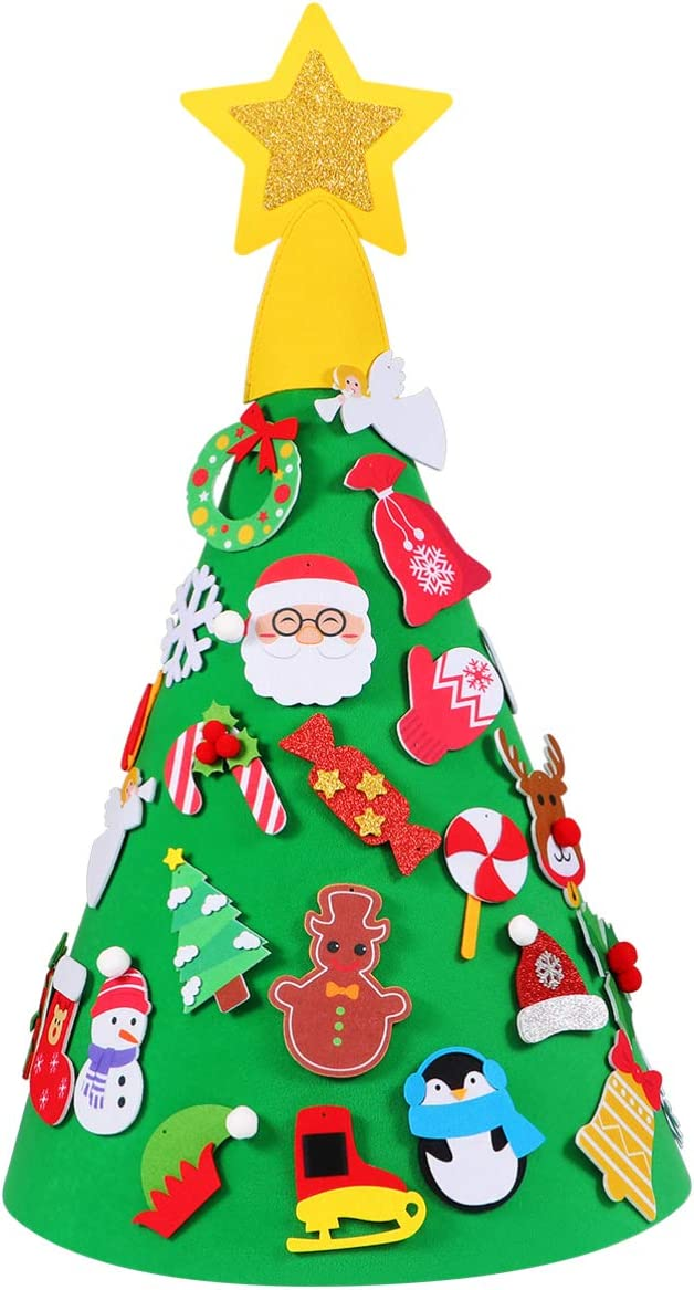 SUPVOX DIY Felt Christmas Tree with 29PCS Ornaments Xmas Gifts for Kids New Year Game Handmade Toy for Christmas Home Party Decor