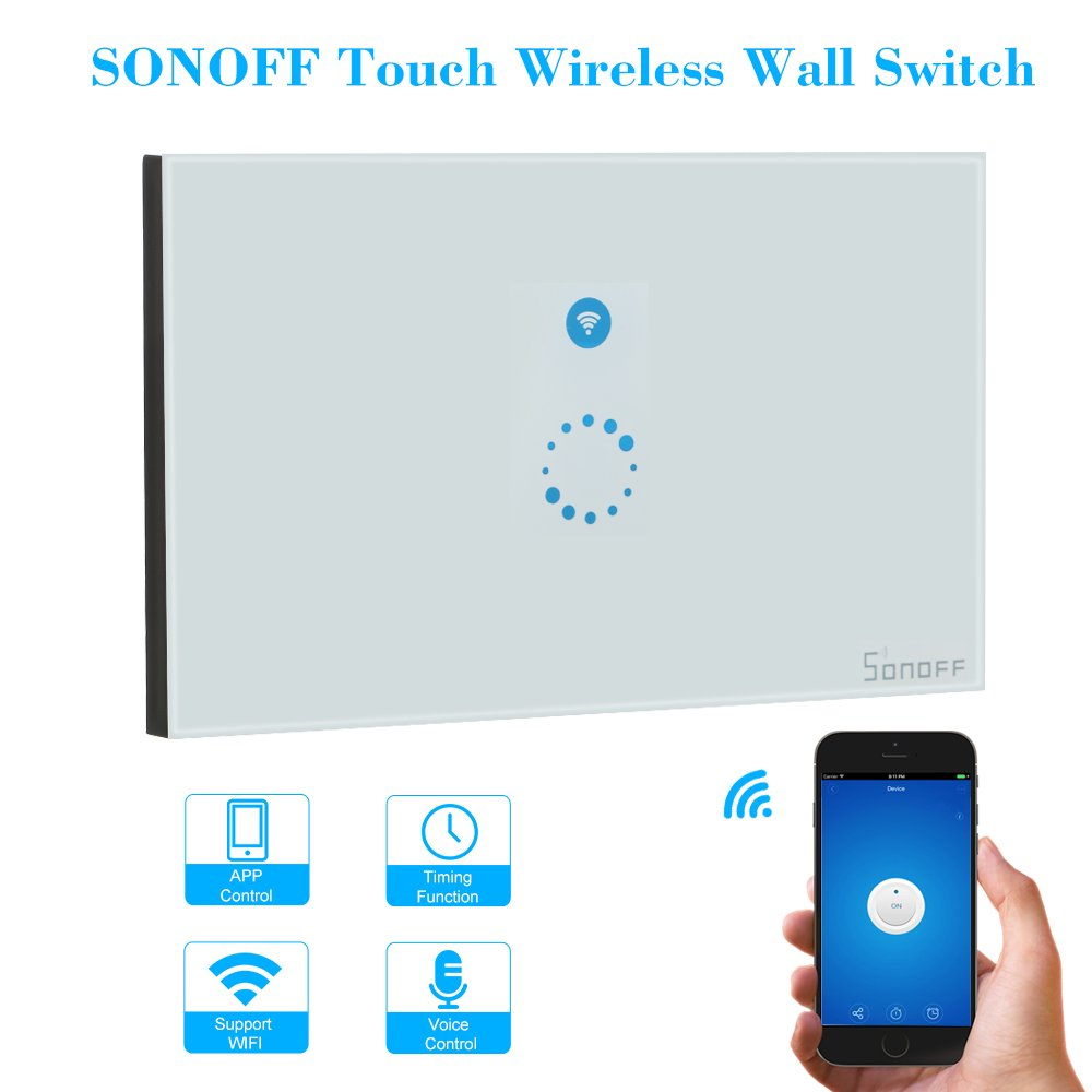 KKmoon SONOFF Touch Wifi Luxury Glass Panel Touch Screen LED Light US Wireless 1 Gang Timer Wall Touch Switch Phone APP Remote Control by KKmoon (Image #2)