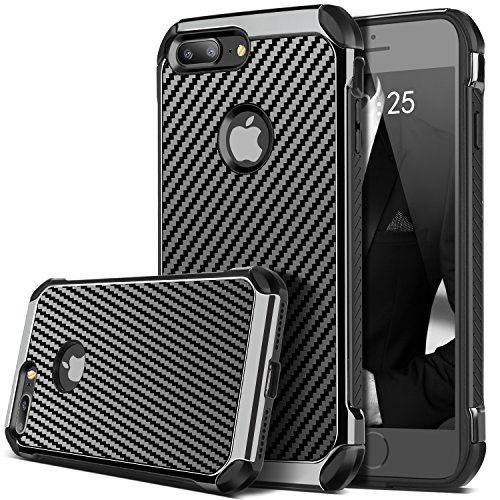 [iPhone 7 Plus Case, iPhone 7 Plus Cover, BENTOBEN Drop Protection 2 in 1 Anti-scratch Hybrid Hard PC Carbon Fiber Texture Chrome Shockproof Protective Case for iPhone 7 Plus (5.5 inch), Black] (Carbon Fiber Protective Cover)