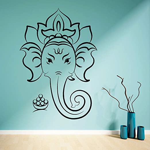 hllhpc Vinilo Tatuajes de Pared Hindú Elefante Dirigido Dios ...