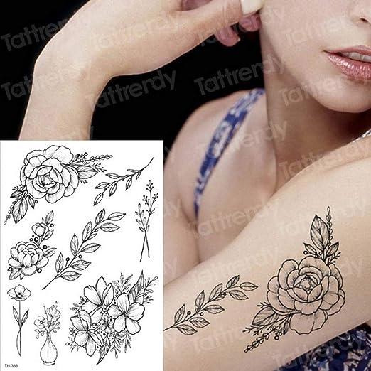 Handaxian 3pcs Imperio Tatuaje Negro Flor Tatuaje 3pcs-1: Amazon ...