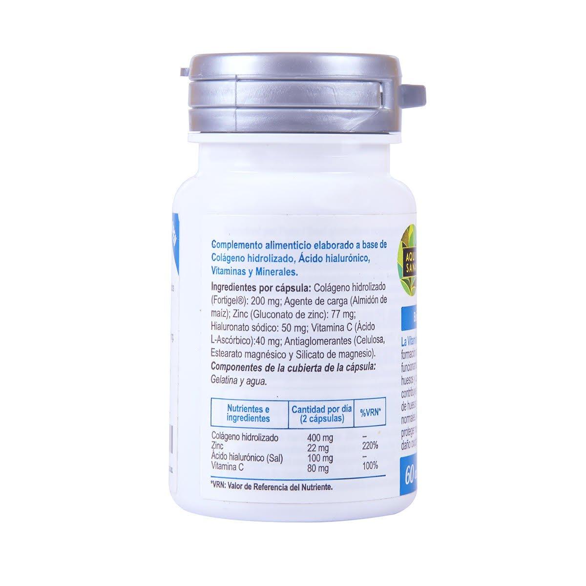 Colágeno con Magnesio y Ácido Hialurónico | Zinc y Vitamina C | Reafirma tu Piel | Efecto Anti Envejecimiento | Articulaciones Sanas | 60 Cápsulas