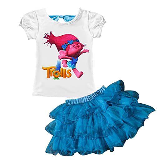 cc799e9f3a39 Amazon.com  AOVCLKID Trolls Little Girls  2Pcs Suit Cartoon Shirt ...