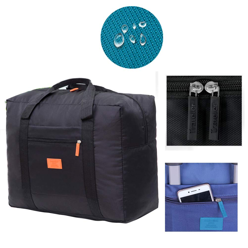 Unova Travel Duffel Bag Packable Light Nylon Water Resistant Gym Tote Weekend Overnight Carry-on Bag (Black) by Unova (Image #3)