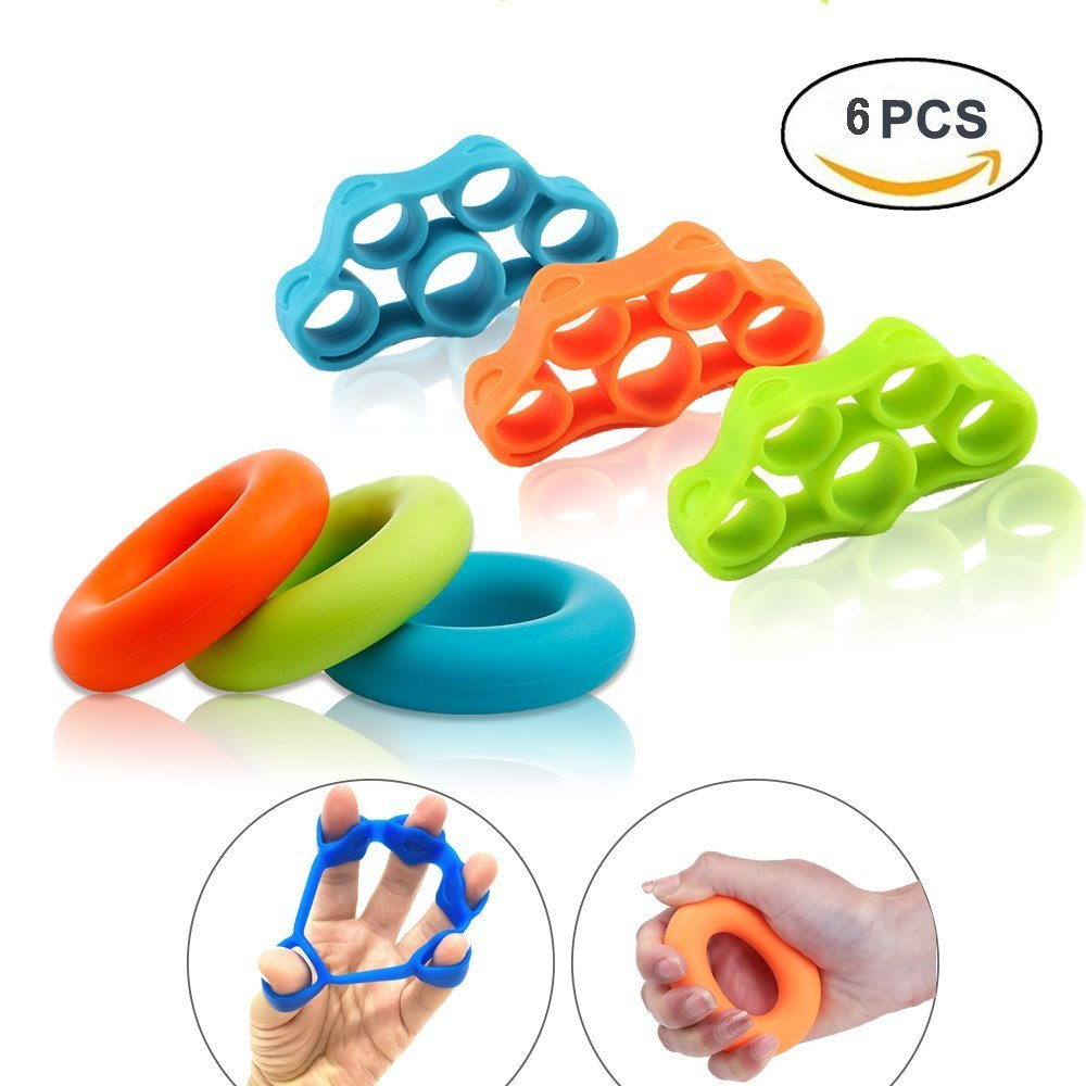 Hand Grip Strengthener Finger Stretcher Strength Trainer Resistance Bands for Forearm Exercise Guitar Finger Strengtheners and Rock Climbing Grips Workout 6pcs Egonva