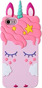 Artbling Case for iPhone 5S/5/5C,Silicone 3D Cartoon Animal Cover,Kids Girls Teens Cool Lovely Cute Cases,Kawaii Soft Gel Girly Rubber Unique Character Protector for iPhone 5 5C (Pink Unicorn)