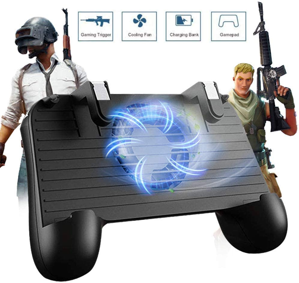 Controlador de Juego móvil para PUBG 5 en 1 versión Mejorada Gamepad Shoot y Aim Trigger Phone Cooling Pad Power Bank para Android y iOS Fortnite/Knives out